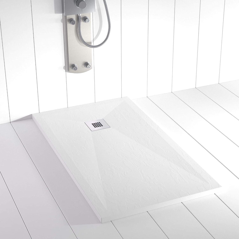 Shower Online Plato de ducha Resina PLES - 80x80 - Textura Pizarra - Antideslizante - Todas las medidas disponibles - Incluye Rejilla Inox y Sifón - Blanco RAL 9003