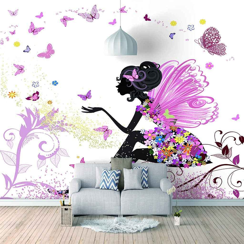 HWCUHL 3D Purple Butterfly Girl Adhesive Sticke Superior Self Wall Albuquerque Mall Canvas