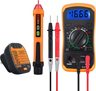 Neoteck Electrical Test Kit, Mini Digital Multimeter + Receptacle Outlet Tester + Non-Contact 12-1000V AC Voltage Detector Pen- Great Packs!