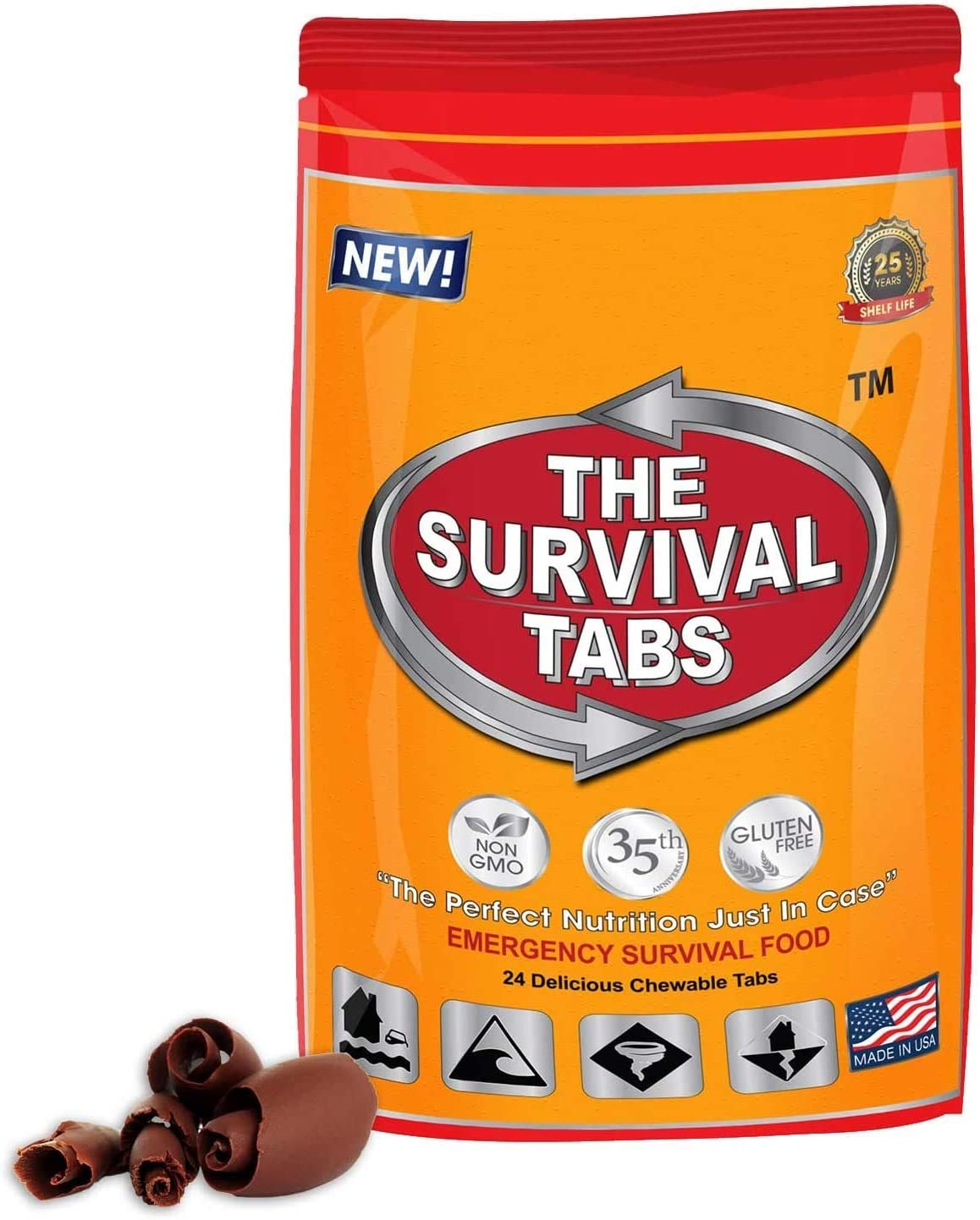 Survival Food for Motorboat Racing Survival Tabs 2-day Food Supply 24 Tabs Emergency Food Ration Survival Gluten Free and Non-GMO 25 Years Shelf Life Long Term Food Storage - Chocolate Flavor