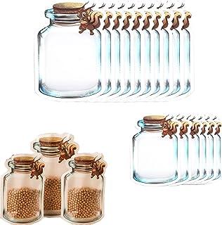 Enkrio Lot de 16 sacs de rangement réutilisables avec fermeture éclair pour nourriture