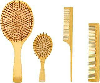 Beauenty Natural Bamboo Comb Set Wooden Massage Hair Brush with Wide Tooth Comb & Grooming Comb for Women Men and Kids - M...
