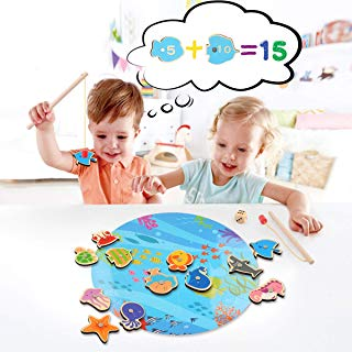 16 Pieces Magnetic Wooden Kids Fishing Game for 2 3 4 5 6 Years Old Boys Girls, Fishing Toy for Kids Toddlers, Magnet Fish Catching Counting Travel Games Toy Set with 2 Rods and Puzzle Game Board