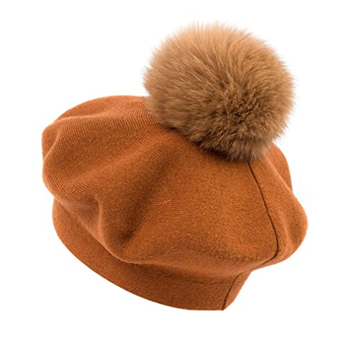 a920a4dd9ad GEEBRO Fox Fur Pom Pom Beanies Winter Knit Cashmere Women Warm Hats