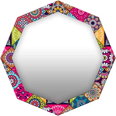 999Store Printed Colorful Floral Pattern Octagon Mirror (MDF_17X17 Inch_Multi)