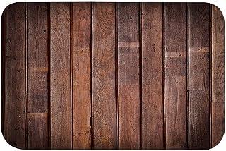 A.Monamour Vieja Marrón Grunge Tablones Verticales Textura De Madera Fondos Impresión Franela Absorbente Antideslizante Alfombras De Baño Alfombrillas De Área Felpudos para Niños Seguridad
