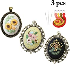 Embroidery Starter Kit,Outgeek 3PCS Pendant Necklace DIY Charm Necklace Jewelry Necklace with Needle Thread