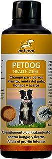 Peticare Perro Bio Champu contra Picor Anti-Pulgas y Anti-Acaros - Tratamiento para Anti-Parasitos y Repelente Detiene P...