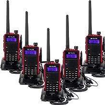 Retevis RT5 2 Way Radios Long Range Walkie Talkies 128CH VHF/UHF Dual Band Ham Amateur Radios Walkie Talkies with Original Earpiece (5 Pack)