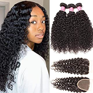 ALI JULIA 10A Malaysian Virgin Curly Hair 3 Bundles with Free Part 4x4 Lace Closure Unprocessed Human Hair Extensions Natural Color (10 12 14+10inch closure)