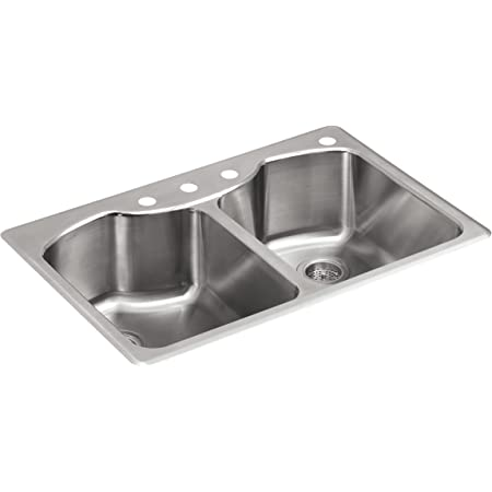 kohler k 3842 4 na octave top mount double equal bowl kitchen sink with 4 faucet holes stainless steel