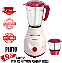 ACTIVA 2 Jars 500 WATTS Full ABS Body Pluto 2 JAR Mixer Grinder(White)
