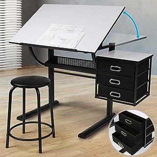 MIADOMODO® Table à Dessin - Plateau Inclinable, avec Tabouret, 3 Tiroirs, Structure en Acier, Noir-Blanc - Bureau à Dessi...