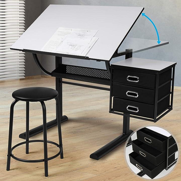 Tavolo da disegno - piano inclinabile, con 3 cassetti e sgabello, struttura in acciaio, bianco/nero STSH10