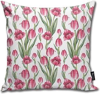 Fabulous_Woo Funda de cojín con diseño de flores de tulipán de acuarela sin costuras, 50 x 50 cm