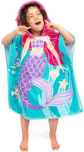 Florica Algodón Niños Niñas Encantador Ponchos Encapuchados baño Toalla de baño(Sirena)