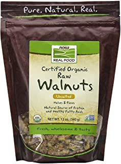 NOW Foods, Certified Organic Walnuts, Raw and Unsalted, Halves and Pieces, Good Source of Protein and Healthy Fatty Acids, Certified Non-GMO, 12-Ounce
