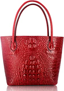 Genuine cow leather tote bags with crocodile effect embossed tote purse bag card wallet bag hand painted designer wallet purses for women girls gift box pack