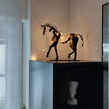 Darkduke Art Metal Horse Statue Decor, Modern and Abstract Design Horse Sculpture Artwork Rustic Metal Statue Decorations Gif