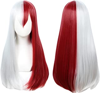Linfairy Half Red and Sliver Wig Halloween Costume Cosplay Wig (Long wig)