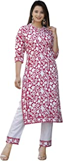 TPC Women's Rayon Pink Printed Kurta with Palazzo/Pant Set