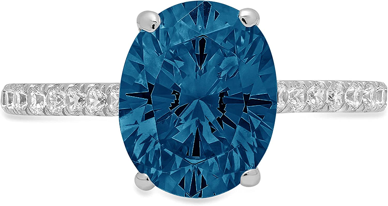 2.71ct Brilliant Oval Cut Solitaire Accent Genuine Flawless Natural London Blue Topaz Gemstone Engagement Promise Anniversary Bridal Wedding Ring Solid 18K White Gold