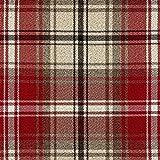 McAlister Textiles Angus Tartan Tessuto al Metro, Cucito | Scozzese Tweed Harris Decorazioni per la Casa in Tessuto - Rosso e Bianco | Design - Campione di Stoffa