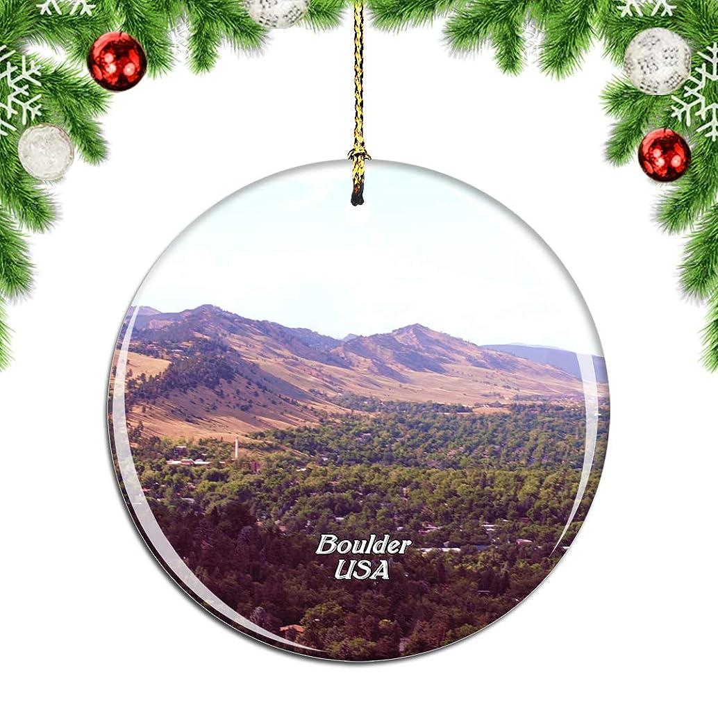 大学黄ばむ航空Weekinoアメリカアメリカコロラド州シャトークアパークボルダークリスマスデコレーションオーナメントクリスマスツリーペンダントデコレーションシティトラベルお土産コレクション磁器2.85インチ