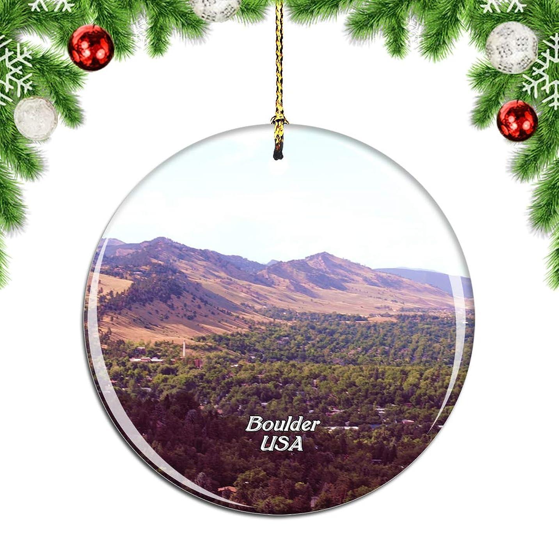 サイクルご覧ください敗北Weekinoアメリカアメリカコロラド州シャトークアパークボルダークリスマスデコレーションオーナメントクリスマスツリーペンダントデコレーションシティトラベルお土産コレクション磁器2.85インチ