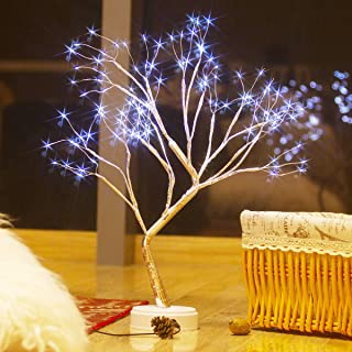 New Cherry Blossom Tree Lights 108LED Copper Wire Table Lamp Bonsai Night Light USB&Battery Operated 18inch Branch Lights Desk Decor for Home,Bedroom,Wedding,Party,Girl Gift