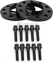 2pcs 12mm (0.5 inch) - Hubcentric 5x120 Wheel Spacers (72.6mm bore) with 10pcs Black Lug Bolts (12x1.5) for many BMWs E36 E46 E90 E92 E60 318i 323i 325i 328i 330i 335i 525i 545i Z3 Z4 Z8 M3 M5