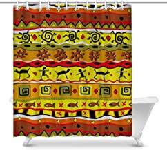 Colorful African Drum Artwork on Stripes Home Decor Waterproof Polyester Bathroom Shower Curtain Bath with Hooks, 72(Wide)...