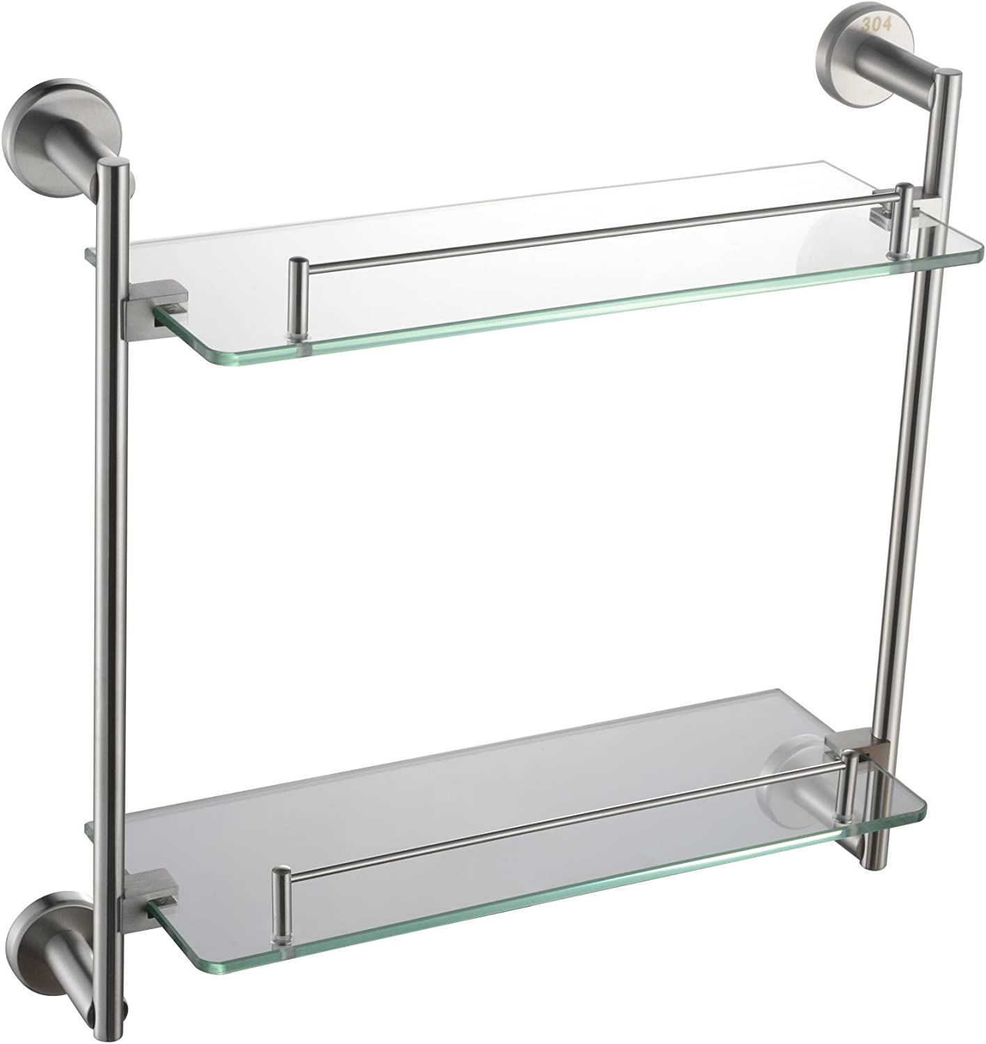 XAH@ Wholesale round base with double glass shelf brushed 304 stainless steel glass rack 420 long export quality , 420130400mm