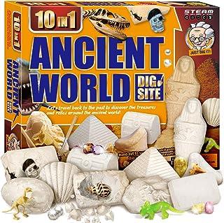 XXTOYS Egyptian Mummy Dig Kit for Kids Break Into 10 Bricks Fossils Excavation Set Interactive Excavating Toys Great Birth...