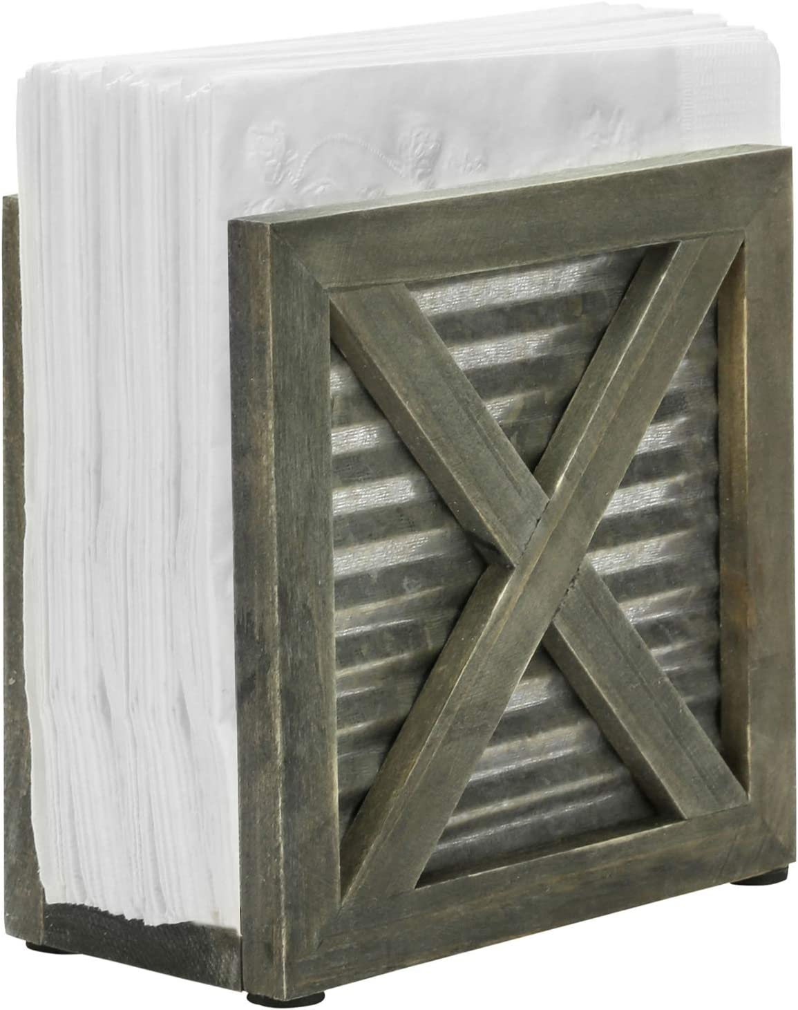MyGift Rustic Barnhouse Omaha Mall Reclaimed Max 82% OFF Style Vintage Gray Galv Wood
