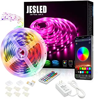 LED Light Strip for Bedroom - JESLED 5M Bluetooth RGB LED Strip Lights Kit with Remote, Sync to Music, App Controlled Colo...