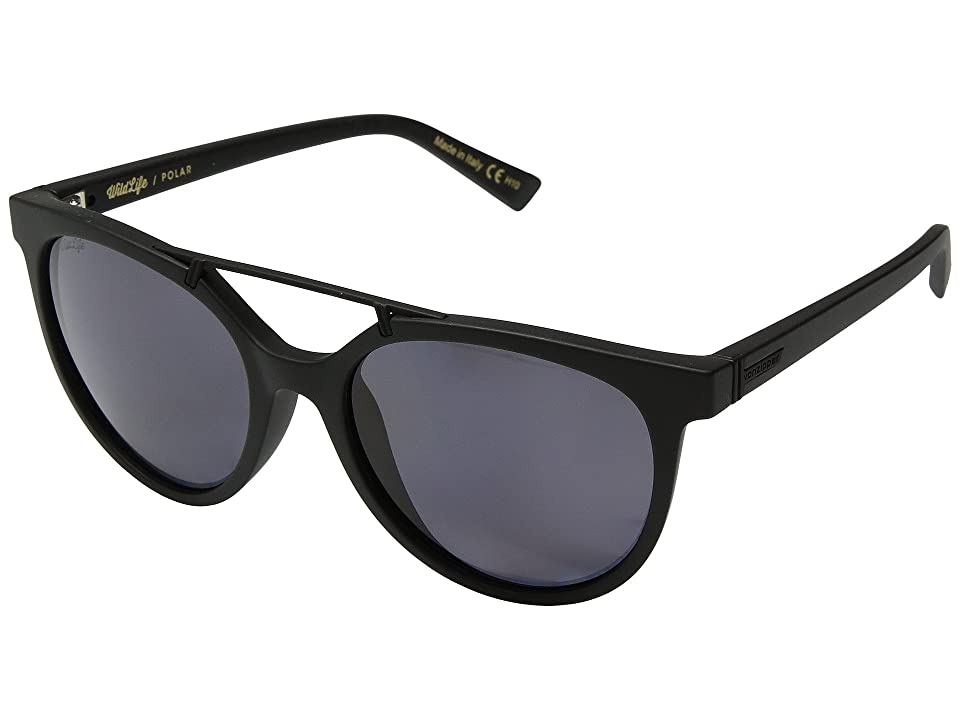 VonZipper Hitsville Polar (Black Satin/Wild Vintage Grey Polar) Athletic Performance Sport Sunglasses