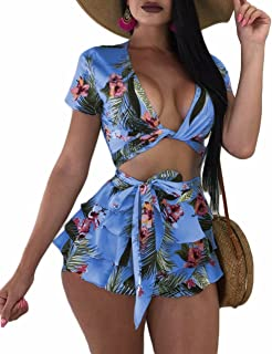 FOUNDO Womens Sexy Ruffle Floral 2 Piece Outfits Crop Top and Shorts Skirts Set