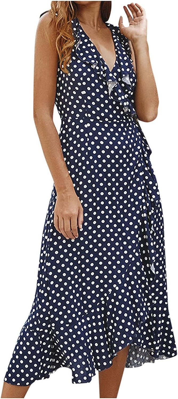 Maxi Dress Women V-Neck Summer Beach Holiday Floral Sundress Temperamental Dress