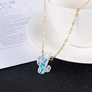 HS store Elegant Simple Opal Cactus Pendant Gold Chain Necklace Charm Women Jewelry (Gold)