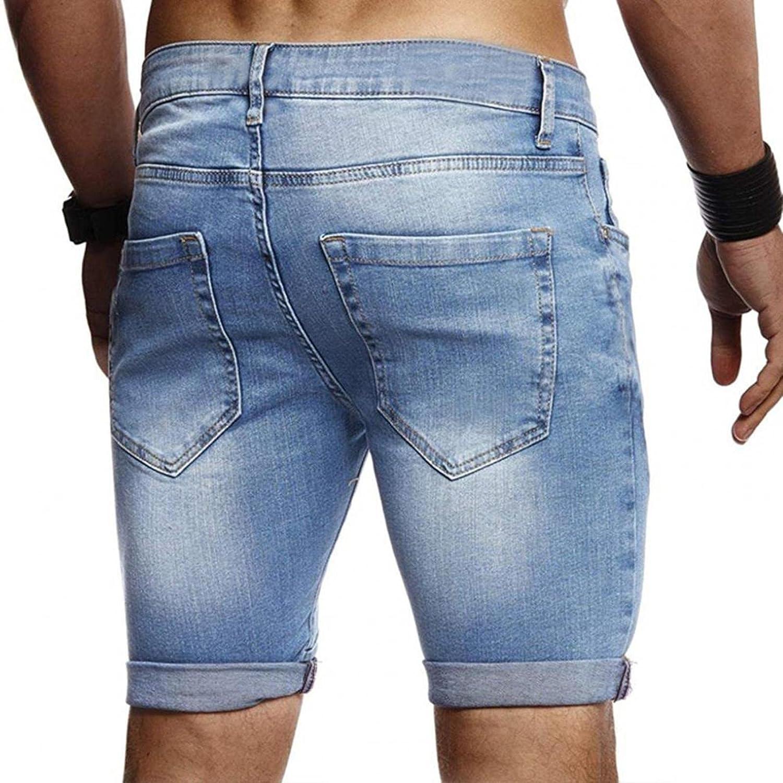 WoJogom Summer Men's Stretch Short Jeans Fashion Casual Slim Fits Elastic Denim Shorts Male Clothes