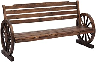 Kinsunny Wooden Wagon Wheel Bench Yard Decorative 2-Person Fir Wood Seat Bench with Backrest Rustic Style for Bench Patio ...