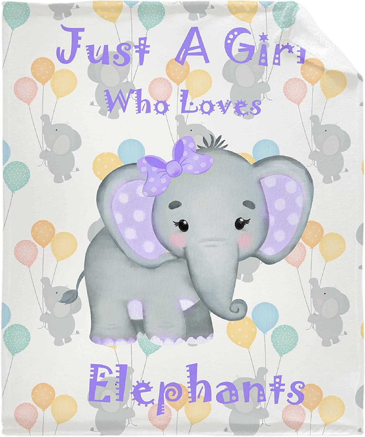 Just A Girl Super sale period limited Colorado Springs Mall Who Loves Elephants Grey Baby Throw Lig Soft Blanket