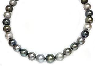 Tahitian South Sea Pearl Necklace 16 - 13 mm Soft Multicolor 14K White Gold