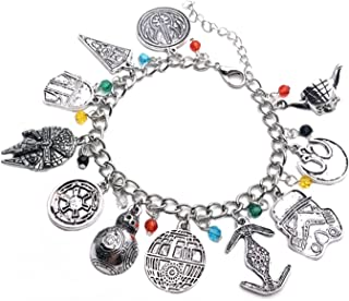 Wonder Fashion Star Wars Bracelet with 11 Themed Silvertone Metal Charms Bracelets Best Gift for Movies Fans