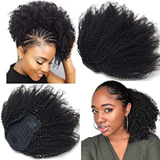 Wrap Drawstring 4B 4C Short Afro Curly Ponytail Human Hair Bun Extensions Mongolian Afro Kinkly Curly Clip In Ponytail Hair Piece Top Closure Ponytail Extensions for Black Women 16