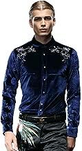 FANZHUAN Lush Stylish Blue Velvet Dress Shirt Slim Fit