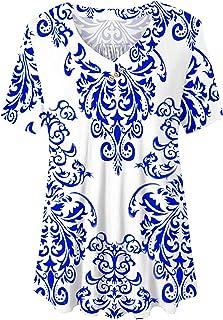 U.Vomade Women's Plus Size Tops Short Sleeve Blouses Flowy Summer Tunic Tops M-4X