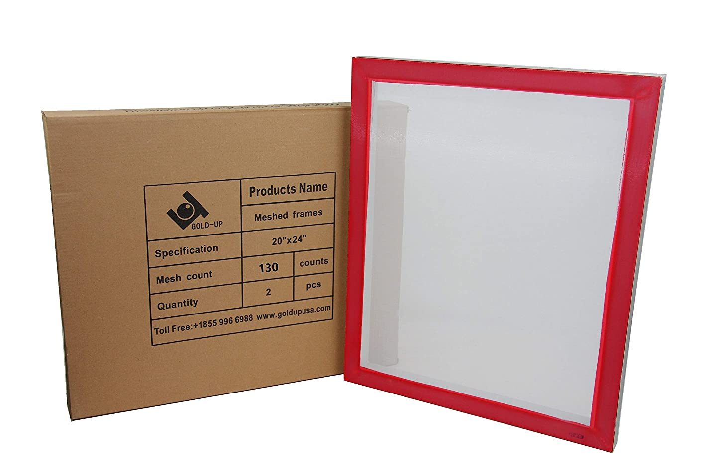 20 x 24 Inch Pre-Stretched Aluminum Silk Screen Printing Frames with 130 White Mesh (2 Pack Screens)