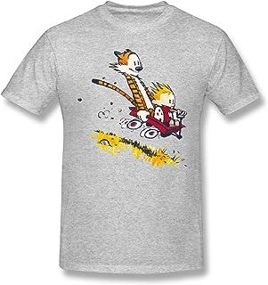 Tondgs Ca-lvin and Hobb-ES Men Classic Short Sleeved T-Shirt White